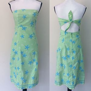 Lilly Pulitzer Starfish Green Blue Tie Back Dress